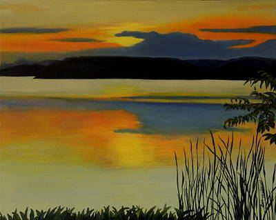 Wall Art - Painting - Sunset On The Bay by Lisa MacDonald