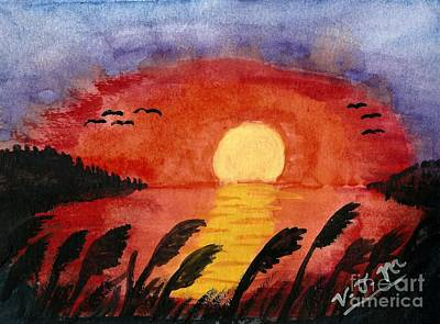 Painting - Sunset On The Bay by Vicki Maheu