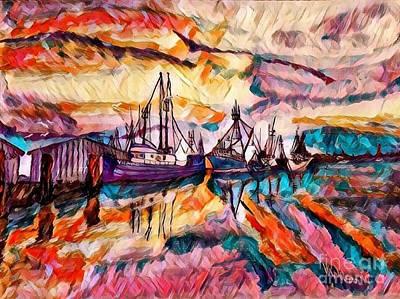Sunset On The Bayou - Abstract Art Print