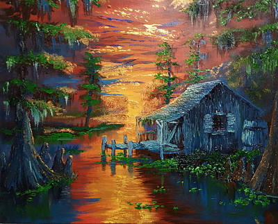 Landscape Painting - Sunset On The Bayou by Nicolas Avet