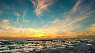 Sunset On The Beach Art Print by Phillip Burrow