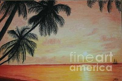 Beach Sunset Drawing - Sunset On The Beach by Zlata  Bajramovic
