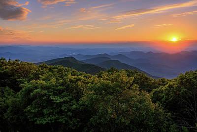 Sunset On The Blue Ridge Mountains  Art Print by Jason Clemmons