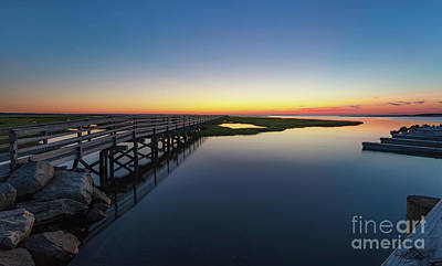 Photograph - Sunset On The Boardwalk At Grays Beach Cape Cod by Michelle Constantine