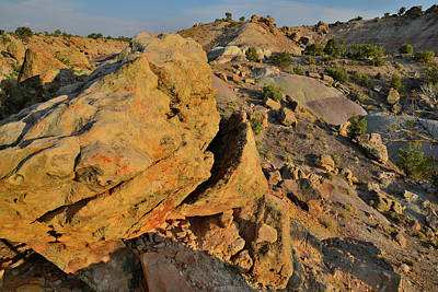 Photograph - Sunset On The Boulders Of The Bentonite Site by Ray Mathis