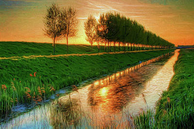 Sunset On The Canal Art Print