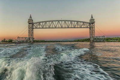 Photograph - Sunset On The Cape Cod Canal Bridges by Brian MacLean