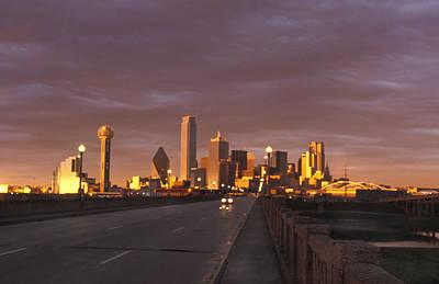 Sunset On The Dallas Skyline Seen Art Print by Richard Nowitz