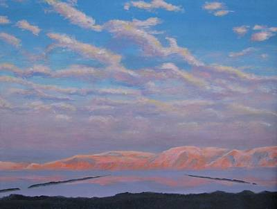 Painting - Sunset On The Dead Sea In Israel by Art Nomad Sandra  Hansen