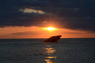 Ship Photograph - Sunset On The Delaware Bare At The Wreck Of Atlantus by Bill Cannon