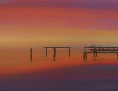 Sunset On The Dock Art Print by Dan Sproul