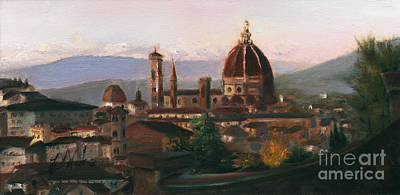 Tuscan Sunset Painting - Sunset On The Duomo by Leah Wiedemer