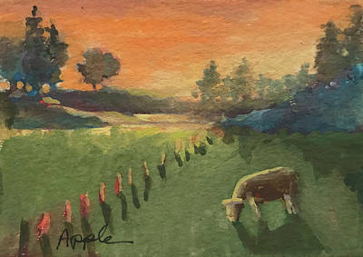 Painting - Sunset On The Farm by Linda Apple