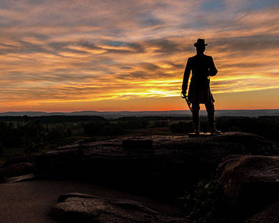Photograph - Sunset On The Gettysburg Battlefield by Jim Cheney
