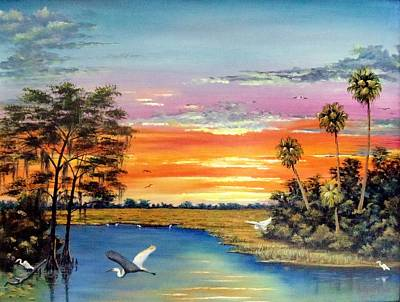 Sunset On The Glades Print by Riley Geddings