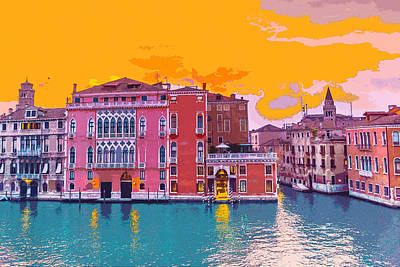 Digital Art - Sunset On The Grand Canal Venice by Anthony Murphy