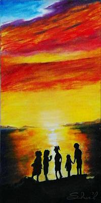Painting - Sunset On The Great Salt Lake by Sherril Porter