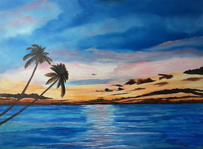 Painting - Sunset On The Island Of Siesta Key by Lloyd Dobson