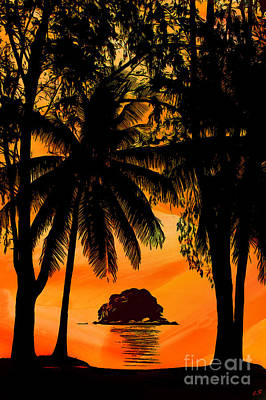 Drawing - Sunset On The Island Of Tioman - 01 by Sergey Lukashin