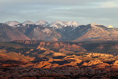 Photograph - Sunset On The La Sal Mountains From Arches National Park by Pierre Leclerc Photography