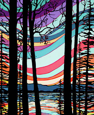 Wall Art - Painting - Sunset On The Lake by Alison Newth