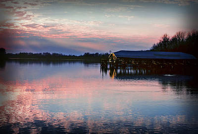 Sunset On The Lake Art Print by Dave Chafin