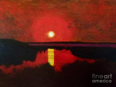 Art Print featuring the painting Sunset On The Lake by Donald J Ryker III