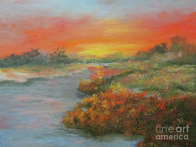 Painting - Sunset On The Marsh by Roseann Gilmore