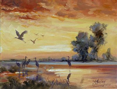 Sunset Painting - Sunset On The Marshes With Cranes by Irek Szelag
