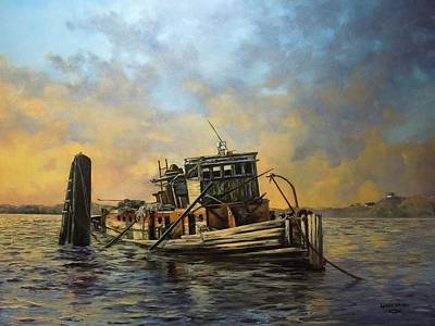 Painting - Sunset On The Mary D. Hume by Lynne Wright