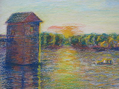 Painting - Sunset On The Ohio River by Susan Brooks