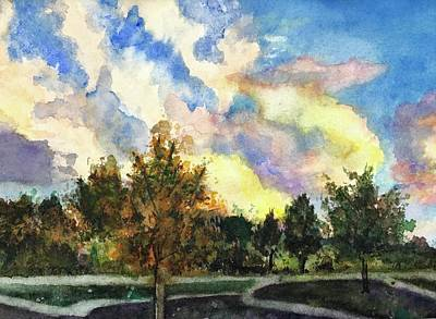 Painting - Sunset On The Park by Carol Warner