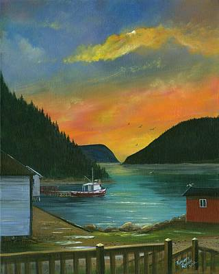 Fishing Shack Painting - Sunset On The Point - Great Harbour Deep, Newfoundland by Kimberly Ropson