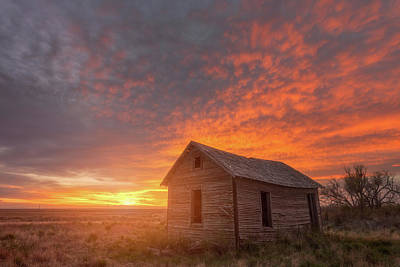 Old Home Photograph - Sunset On The Prairie  by Darren White