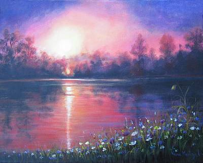 Painting - Sunset On The River by Vesna Martinjak