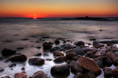 Sunset On The Rocks Art Print by Brian Boudreau