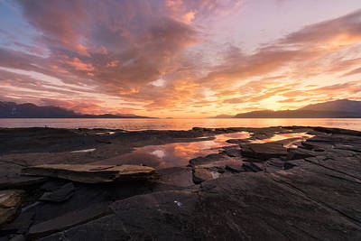 Dramatic Photograph - Sunset On The Rocks by Tor-Ivar Naess