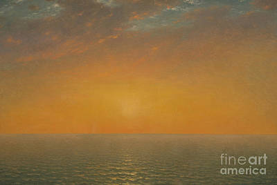 Reflecting Sunset Painting - Sunset On The Sea, 1872 by John Frederick Kensett