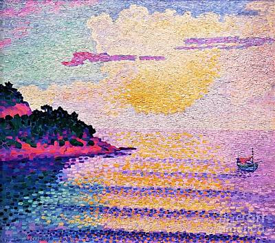 Painting - Sunset On The Sea by Pg Reproductions