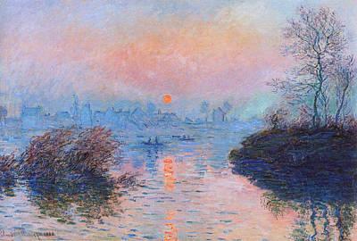 Sunset On The Seine At Lavacourt Winter Effect 1880 Art Print