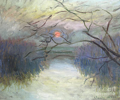 Painting - Sunset On The Seine At Vetheuil, 1880 by Claude Monet