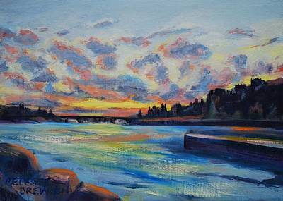 Paris Skyline Royalty-Free and Rights-Managed Images - Seine Sunset by Celeste Drewien