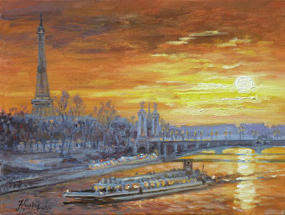 Sunset Painting - Sunset On The Seine, Paris by Irek Szelag