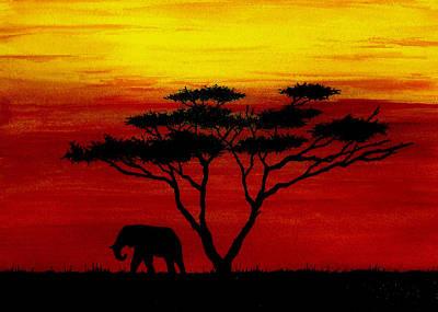 Serengeti Painting - Sunset On The Serengeti by Michael Vigliotti