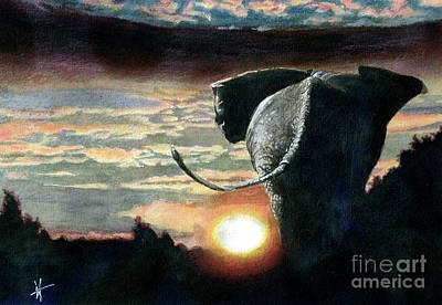 Mixed Media - Sunset on the Serengeti by Michelle T Williams