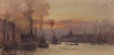 Sunset On The Thames Art Print by George Hyde Pownall