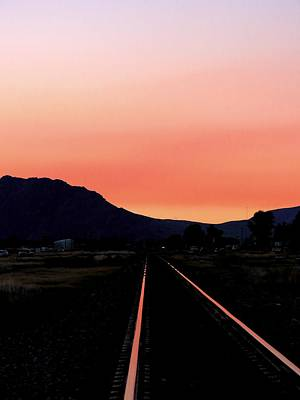 Sunset On The Tracks Art Print