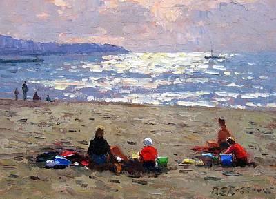 Sunset On The Waves Art Print