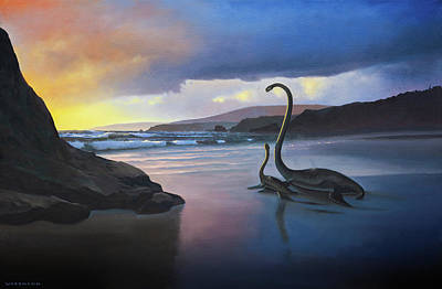Painting - Sunset On The Western Interior Seaway by Cliff Wassmann