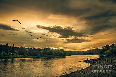Photograph - Sunset On The Willamette River by Robert Bales